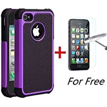 iPhone 5C Case, MCUK [Shock Absorption] [Drop Protection] Hybrid Best Impact Defender Cover Shell Plastic Outer & Rubber Silicone Inner for Apple iPhone 5C (Black+Purple)