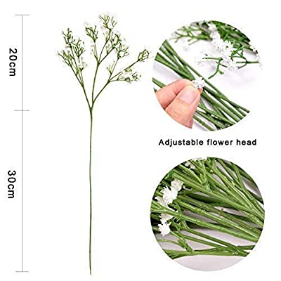 Homcomoda 12 Pack Artificial Flowers Babies Breath Flowers Fake Gypsophila Plants Bouquets for Wedding Home DIY Decoration