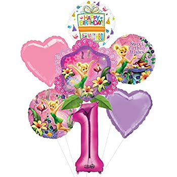 Tinkerbell 1st Birthday Party Supplies And Balloon Bouquet Decorations
