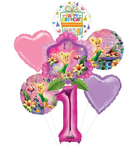 Tinkerbell 1st Birthday Party Supplies and Balloon Bouquet Decorations -