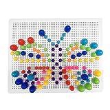 Juego Pinchos con Seta de Clavos Bloques Caja Juguetes Bricolaje Conjunto para Niños de 3 Años+(318PCS)