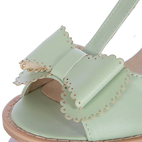 M Buckle Bowknot B Solid 5 Peep Womens with Open Material PU WeenFashion Toe Heel and Kitten Sandals Green US Soft 1U6Txwq7T