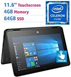 #2: 2018 Premium HP X360 ProBook 11.6'' 2-in-1 Touchscreen Laptop PC (Intel Celeron N3350 1.1GHz, 4GB DDR3L, 64GB SSD, HDMI, Bluetooth 4.2, Webcam, 802.11 ac WiFi, Windows 10 Professional) Black
