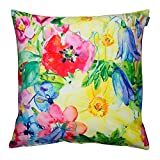 Outdoor Cushion - 43cm x 43cm - Colourful Painterly Floral - Fibre Filled, Water Resistant - Decorative Scatter Cushions for Garden Chair, Bench, or Sofa