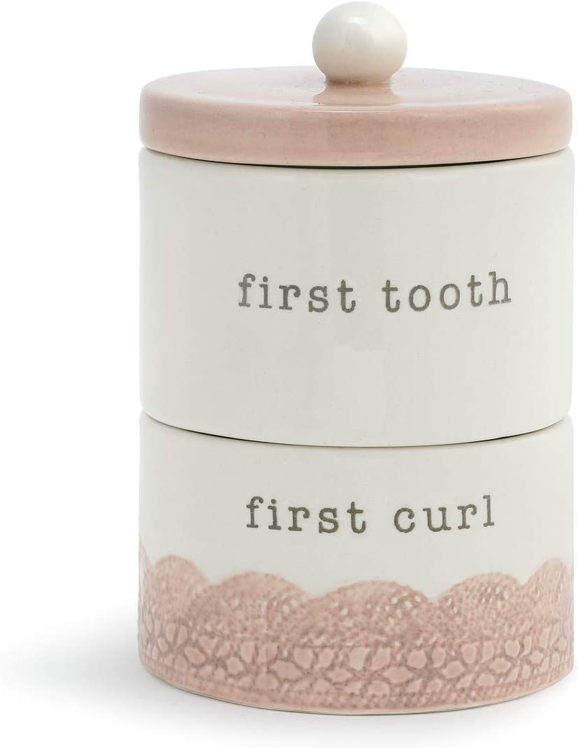 Tooth and Curl Stacking Glossy Pink 4 x 3 Ceramic Stoneware Baby Keepsake Box