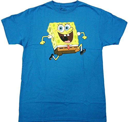 Spongebob - Sponge Bob Reversable Adult T-Shirt (Medium, Turquoise) ()