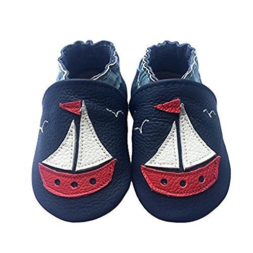 LSERVER Baby Boys Girls Toddlers Sleepwear Outfit Months Soft Sole Leather Infant Shoes Crib Shoes White Boat (Love White Soft Sole Shoes)
