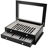 Pen Box 26 Fountain Pens Writing Instruments Wood Constructed Glass Display Case (Black)