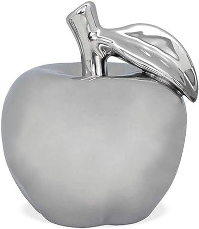 matches21 manzanas decoración manzanas cerámica cerámica manzana plata brillante mango & hoja decoración fruta escultura mesa decoración 1 unidad 2 tamaños, cerámica, 9 cm.: Amazon.es: Hogar