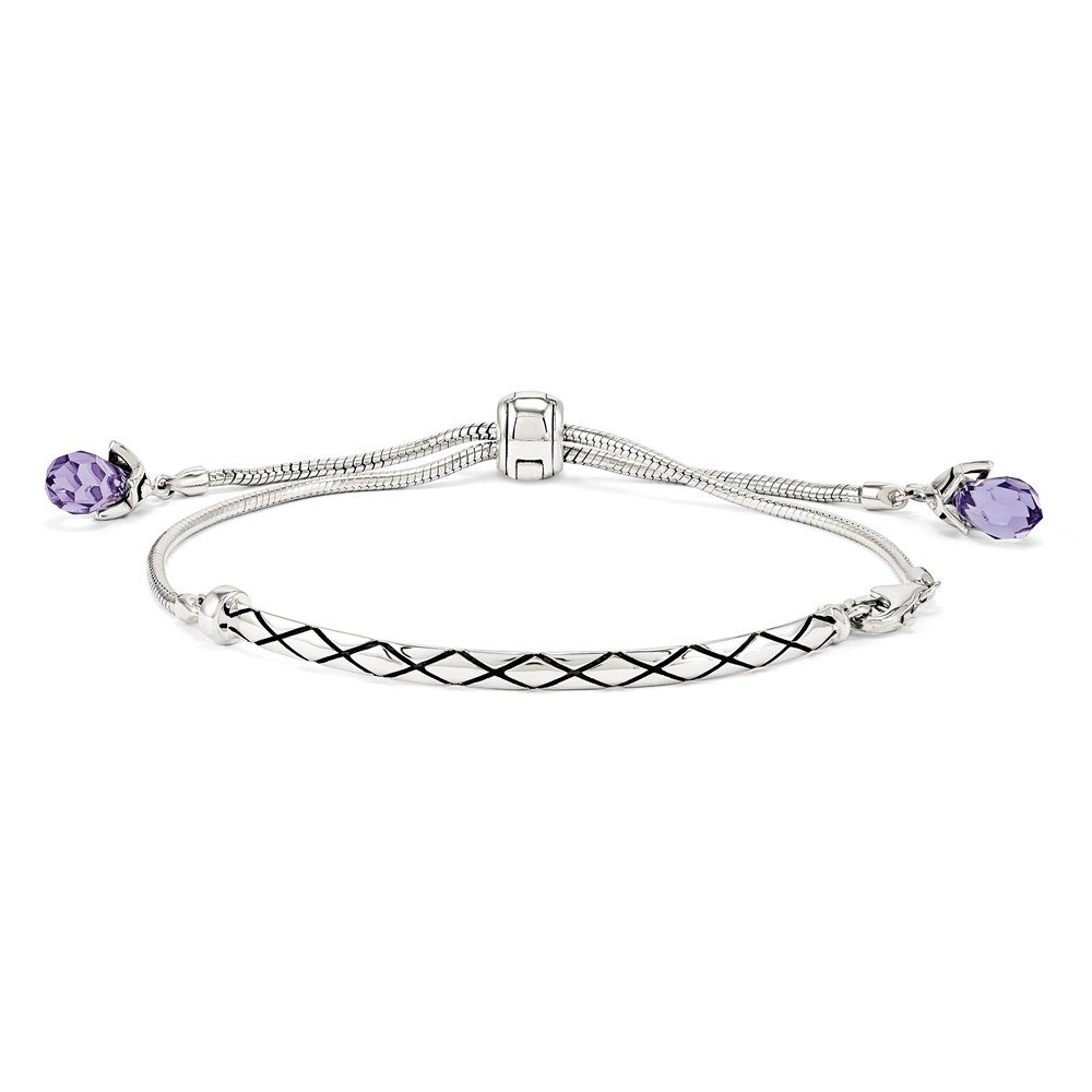 Sterling Silver /& Purple Crystal Adjustable Starter Bracelet