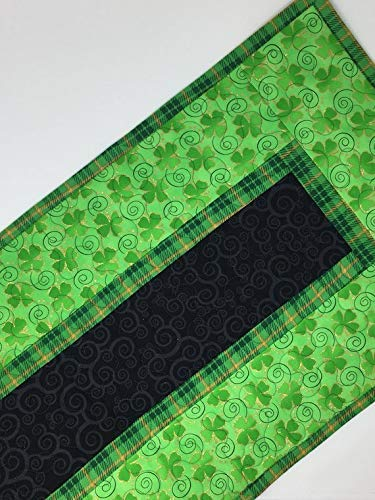 (St. Patrick's Day Table Runner Quilt, St. Paddy's Day, Irish, Clovers, Green, Gold, Black, Plaid, Handmade Quilt)