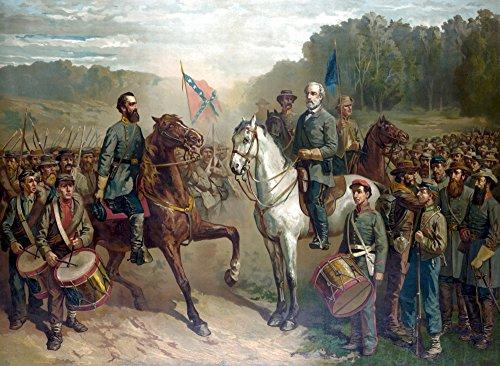 Posterazzi Vintage Civil War Color Painting Robert E. Lee and General Thomas Stonewall Jackson on Horseback at There Last Meeting. Poster Print (8 x 10) - War Paintings Civil