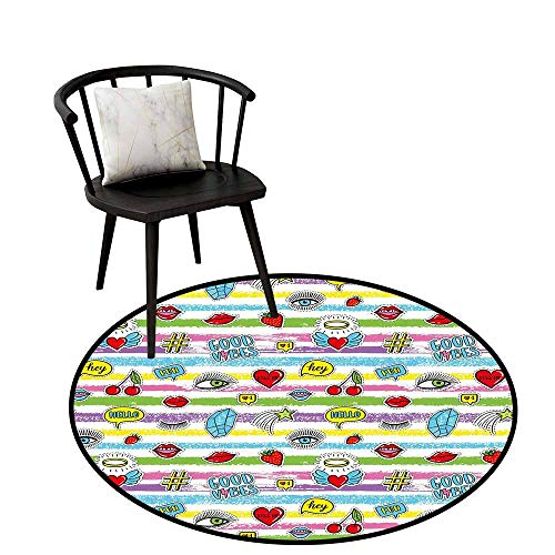 - Round Area Rugs Living Room Carpet Good Vibes,Colorful Grungy Stripes Retro Art Elements Eyes Hearts Cherries Speech Bubbles,Round Entryway Rug Floor Mats Welcome Mat Living Room Rug 16