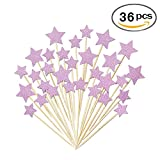36 Pcs Twinkle Star Cupcake Toppers DIY Glitter Mini Birthday Cake Snack Decorations Picks Suppliers Party Accessories for Wedding Baby Shower