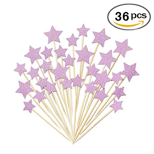 36 Pcs Twinkle Star Cupcake Toppers DIY Glitter Mini Birthday Cake Snack Decorations Picks Suppliers Party Accessories for Wedding Baby Shower - Fairy Princess Glitter
