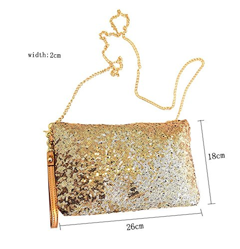 Gold Handbag Clutch Evening Sequined Vintage Envelope Party Purse CD CC qw8C7xz7