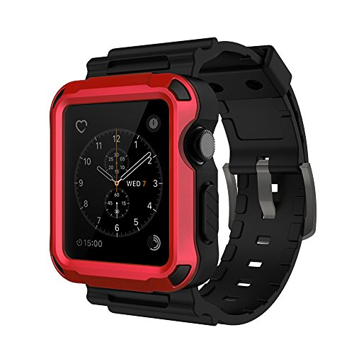 Price comparison product image Simpeak Hot Red Rugged Protective Case with Black Strap Bands for Apple Watch 42mm Series 1 Series 2 Series 3