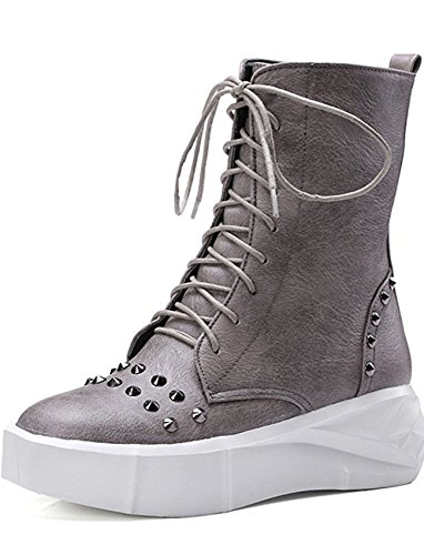 Seoia Women's Comfy Studded Mid Wedge Heels Lace up Motor Boots Ankle Booties 0631J
