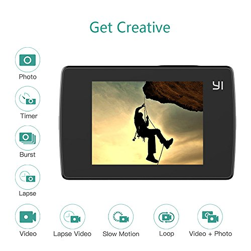 51ZB2kdukEL - YI Lite Action Camera, Sony Sensor 16MP Real 4K Sports Camera with Built-in WiFi, 2 Inch Touchscreen,150° Wide Angle Lens and EIS- Black