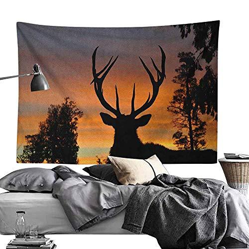 dsdsgog Tapestry map Antlers,Black Deer on Sky Background West Coast South Island New Zealand Nature, Seal Brown Marigold,W90 xL60 Bedroom Sheets (Detailed Map Of South Island Of New Zealand)