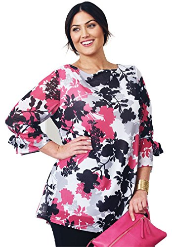 Jessica London Women's Plus Size Knit Mesh Tunic Passion Pink Floral (Motive Boatneck)
