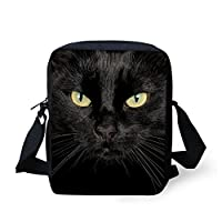 HUGS IDEA Black Cat Mini Messneger Bag Shoulder Handbag Outer Travel Cross Body Bags Purse