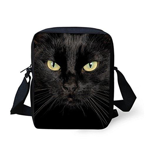 HUGS IDEA Black Cat Mini Messneger Bag Shoulder Handbag Outer Travel Cross Body Bags Purse