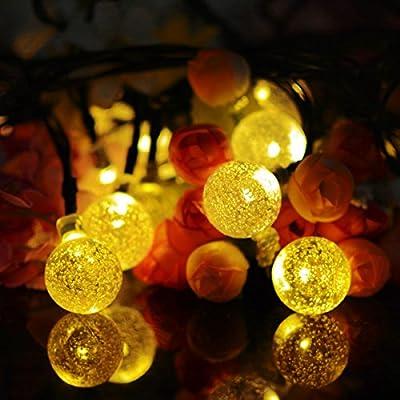 Vmanoo Solar String Lights, 20ft 30 LED Solar Globe Lights, Waterproof Crystal Globe Ball Lighting for Outdoor, Patio, Lawn, Garden, Wedding, Holiday Decorations (Warm White)