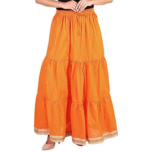 Size Skirts Indian Skirt Women Printed Cottton Handicrfats for Polka Gold Long Tiered Free Orange Skirt Dot Export TTZqS