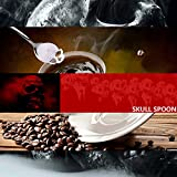 Skull Spoon, Stainless Steel Sugar Spoon Tea Spoon Coffee Spoon Mixing Spoon Home Kitchen Tableware Utensil in Silver Set of 4pcs