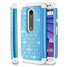 Fosmon (HYBO-SD) Motorola Moto G 3rd Gen Case (Star Diamond) Dual Layer Hybrid Cover for Moto G (3rd Gen, 2015) - Fosmon Retail Packaging (Sky Blue/White)