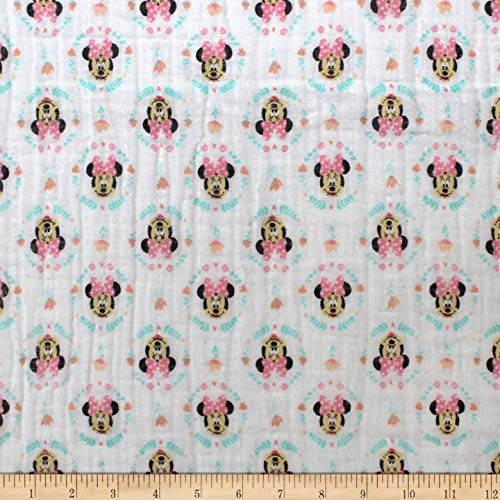 Eugene Textiles Mickey & Minnie Mouse Little Meadow Wildflowers Bambino Pink, Fabric by the Yard