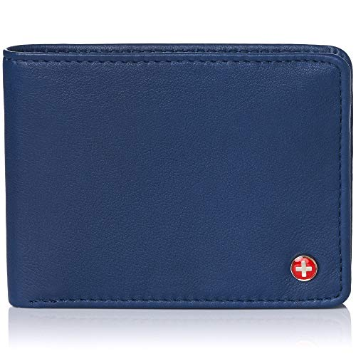 - Alpine Swiss Mens RFID Safe Leather Wallet Slim Flip-out Bifold Trifold Hybrid Soft Nappa Blue