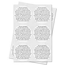 """CANDLE Warning Stickers Jar Container Labels (White Black / 1.5"""") - 300 labels per package"""