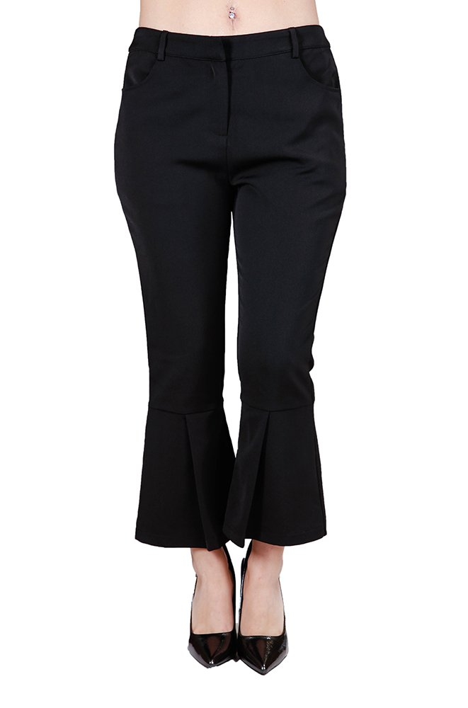 Off-Fashion Apparel Women's Classic Business Dress Pant Cropped Pleated Flair Trousers, Black