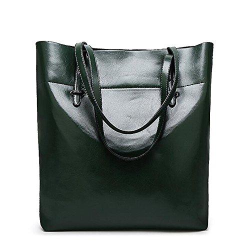 MeiliYH mujeres PU bolso de cuero señoras de gran capacidad de hombro bolsa de hombro Verde