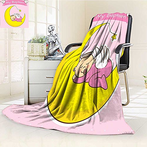 YOYI-HOME Fleece Duplex Printed Blanket 300 GSM Baby Sleeping on The Moon Girl Baptism Birth Announcement Image Yellow Pink Reversible Super Soft Warm Fuzzy Bed Blanket /W39.5 x H59 ()