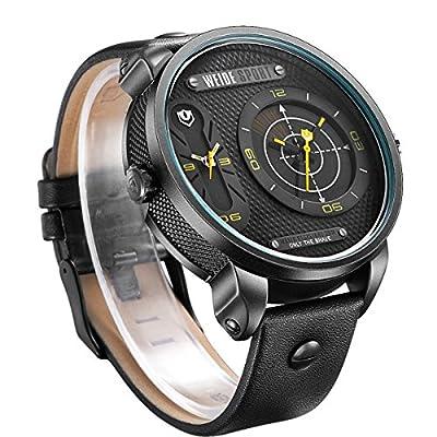 PIXNOR WEIDE Fashion Waterproof Men Boys Unique Radar Round Dial Dual Time Display LED Digital Analog Quartz Sports Watch with PU Band (Black+Yellow)