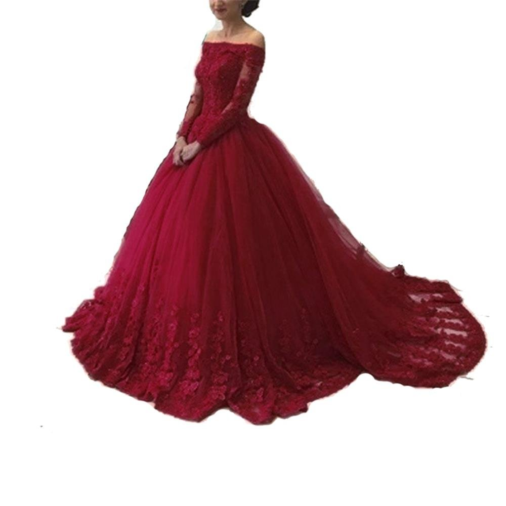 Pettus Women's Off The Shoulder Lace Quinceanera Dress Prom Ball Gowns With Long Sleeves 2018 by Pettus