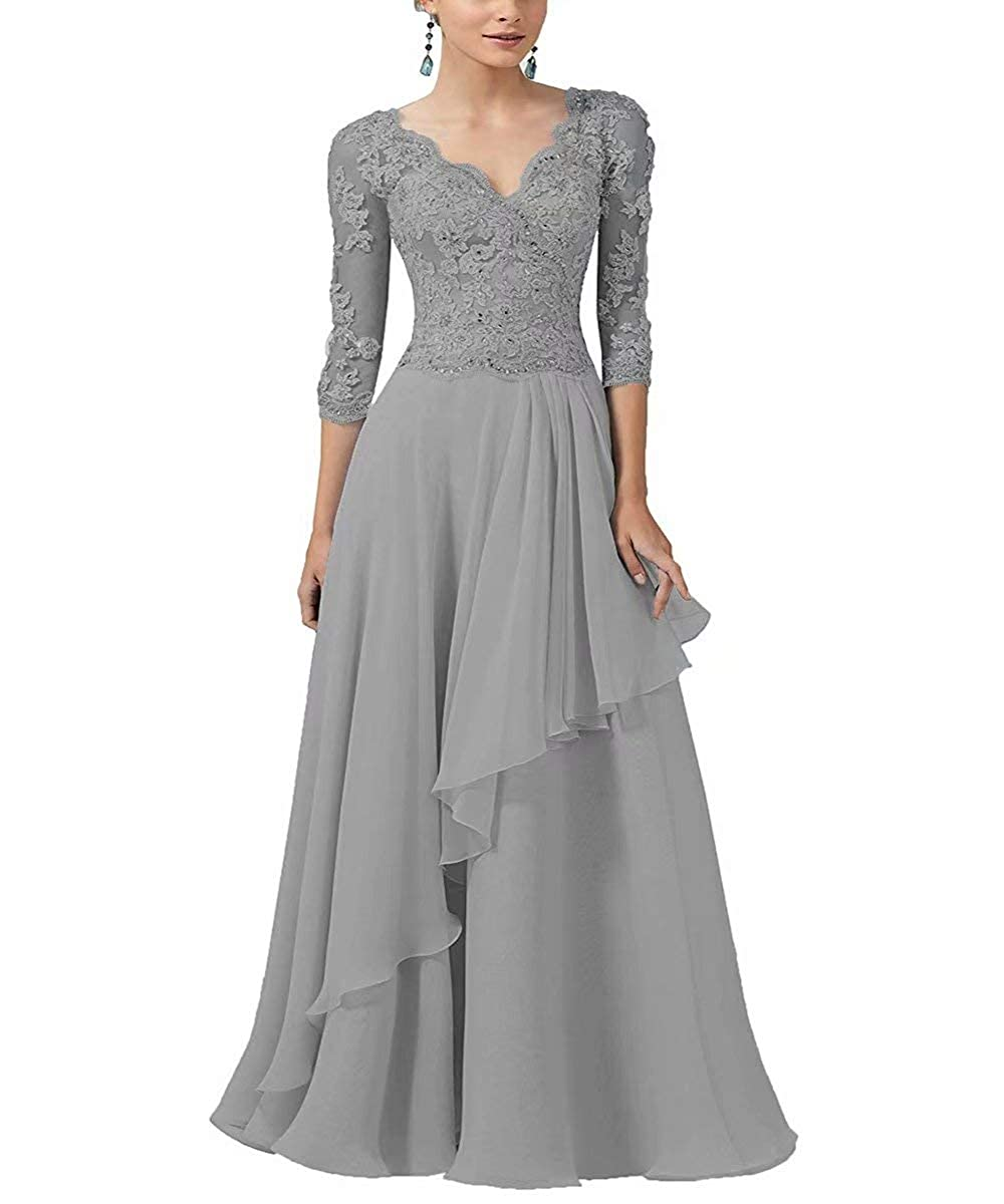 9c81866e862 RONGKIM Women s V-Neck Mother of The Bride Dresses Lace Appliques Formal  Evening Dress with 3 4 Sleeves at Amazon Women s Clothing store