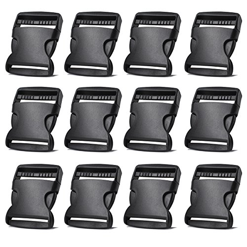 2 Inch Side Quick Release Plastic Buckles (12 Pack-Black) (Web Buckles Strap)