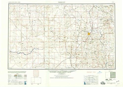 YellowMaps Prescott AZ topo map, 1:250000 Scale, 1 X 2 Degree, Historical, 1960, Updated 1960, 24.2 x 34.1 in - Polypropylene