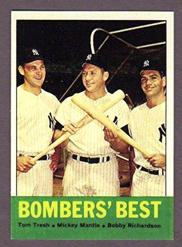 Mickey Mantle, Tom Tresh, Bobby Richardson 1963 Baseball ***Bombers' Best***Reprint Card (Yankees) (Baseball Bobby Richardson)