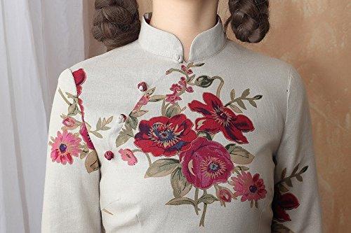Damen Kunst Lang Schlitz Muster Blumen Farbe6 Verbessern Cheongsam Langarm ACVIP dAW0xqYfd