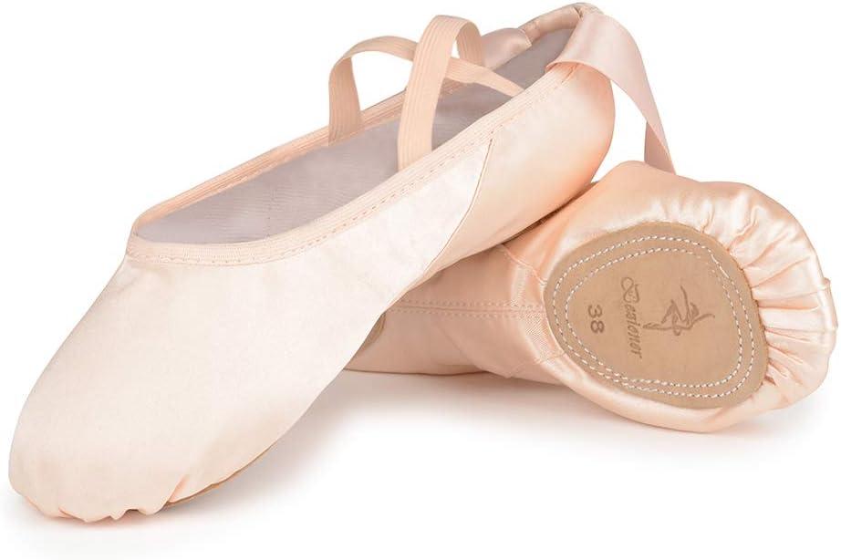 Bezioner Zapatillas de Ballet Suela Partida Satín Zapatos de Danza y Gimnasia con Cinta para Niñas y Adultos