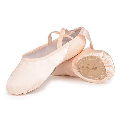 c344fbe4f39ba Chaussures de Danse Satin Demi Pointe Pantoufle de Ballet avec Ruban Rose  Ballerine pour Enfants et