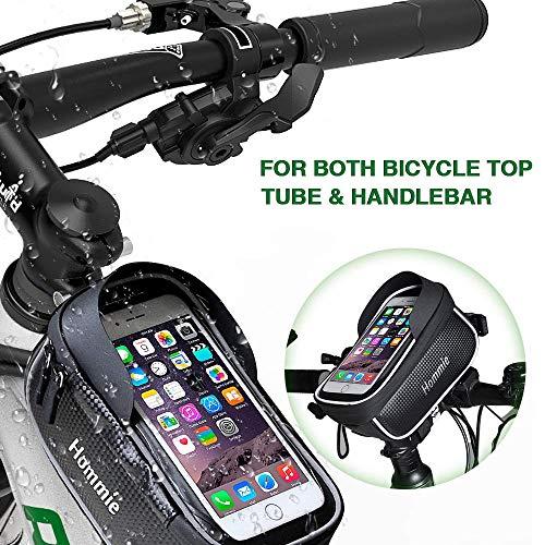 Hommie Bike Handlebar Bag, Waterproof Top Tube Bicycle Bag Touch Screen Phone Holder Bag for Smartphone Within 6 inch