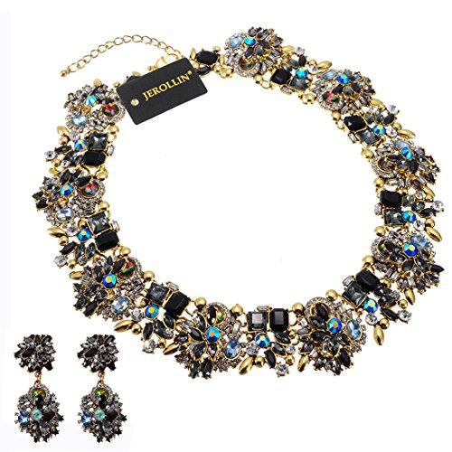 - Crystal Statement Necklace (Earrings Set), Vintage Chunky Chain Choker Bib Statement Necklace Fashion Costume Jewelry Necklaces (Set) for Women