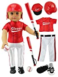 Red Baseball Uniform with Baseball Bat, Helmet, and Shoes for Boy Doll | Fits 18