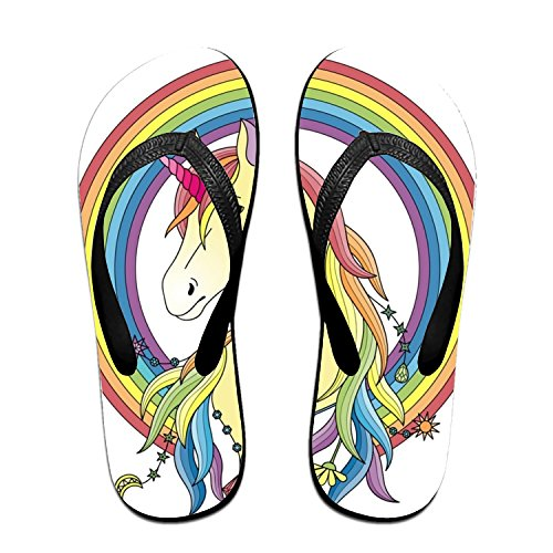 - Unisex Sandy Flat Funny Flip Flops Thong Sandals Rainbow Print Unicorn Slipper Top Mat